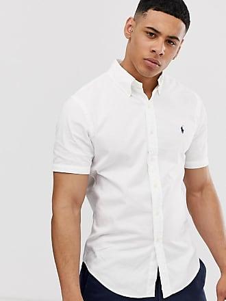 96fc19d57c01 Polo Ralph Lauren player logo short sleeve lightweight twill shirt slim fit  in white