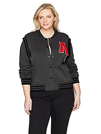 Yoki Womens Plus Size Varsity Fleece Jacket, Charcoal, 2X