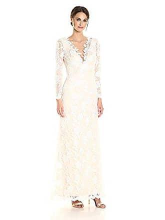 8ede10ea55c9 Tadashi Shoji Womens Long Sleeve Lace Bridal Gown, Ivory/Petal, 8