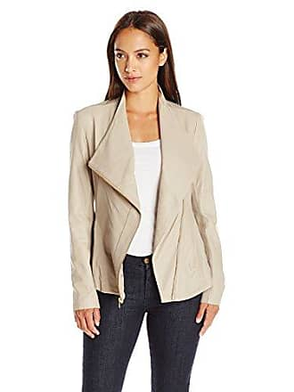 Via Spiga Womens Drape Front Leather Jacket, Solid Taupe, X-Small