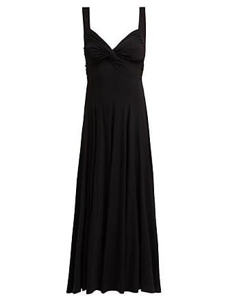 Norma Kamali Ruched Flared Jersey Midi Dress - Womens - Black
