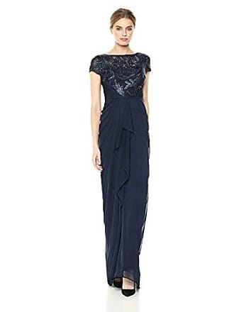 Adrianna Papell Womens Long Stretch Tulle Dress with Metallic Embroidered Bodice, Midnight, 2