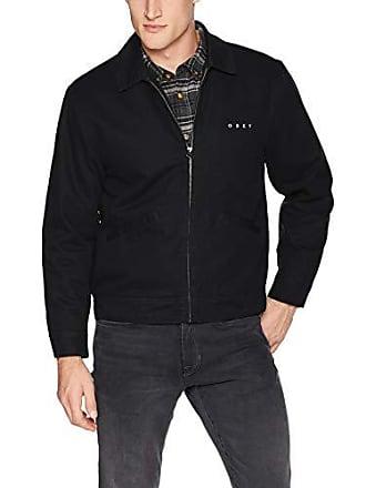 Obey Mens Dillinger Zip Trucker Jacket, Black, Large