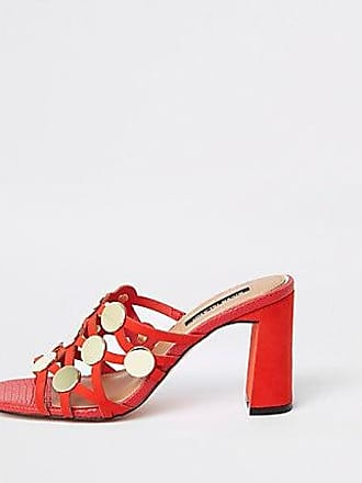 0efd8ba245c6 River Island Womens Red circle caged block heel sandals