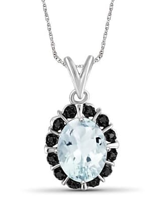 JewelersClub JewelersClub 1.66 Carat T.G.W. Aquamarine Gemstone and Black Diamond Accent Pendant
