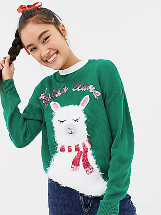 New Look christmas sweater with llama print in green - Green