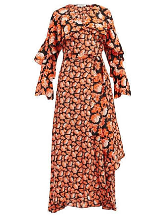 Diane Von Fürstenberg Isla Berry Print Silk Wrap Dress - Womens - Orange Multi