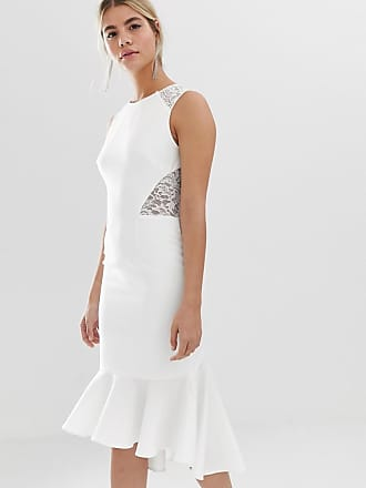 cb2185f4042f Chi Chi London Vestito midi asimmetrico bianco con inserto in pizzo - Bianco
