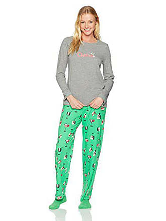2500a27b24d1bb Hue Womens Printed Knit Tee and Pant 3 Piece Pajama Set, Medium Grey  Heather/