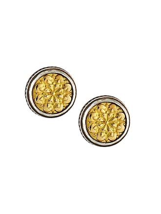 Konstantino Sterling Silver & Embossed 18K Button Earrings