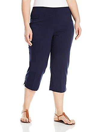 Ruby Rd. Womens Petite Pull-On Super Stretch Solar Millennium Tech Cropped Capri With Embellished Slit Hem, Navy,16
