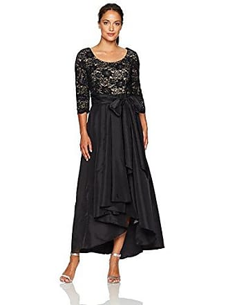 7d446f51 R&M Richards Womens Lace and Tafetta Hi Lo Dress Petite, Black/TAUP, ...