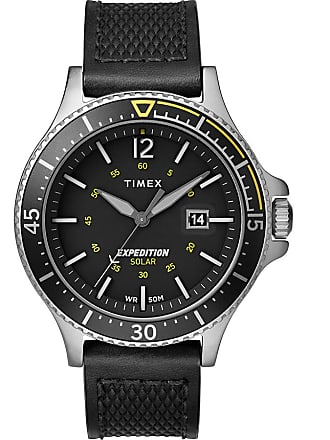 Timex Watch Mens Expedition Ranger Solar 43MM Leather Strap Silver-Tone/Black Item Tw4B14900Za