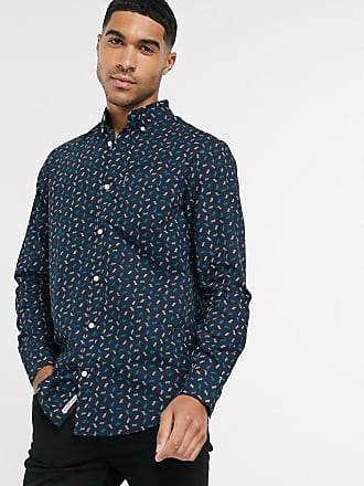 Original Penguin Marineblaues Buttondown-Hemd mit geometrischem Muster-Navy