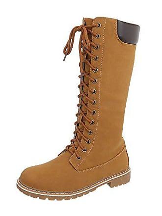 26acc9adb3689b Ital-Design Schnürstiefel Damen-Schuhe Schnürstiefel Blockabsatz Warm  Gefütterte Reißverschluss Stiefel Camel