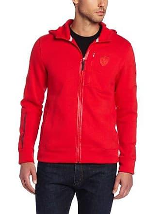 988ce81e0730 Puma Mens Ferrari Hooded Sweat Jacket Rosso Corsa Large