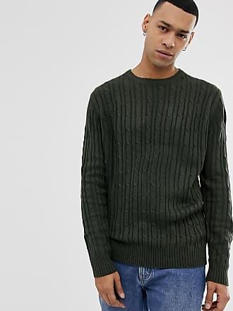 Brave Soul Pullover mit durchgehendem, feinem Zopfmuster-Grün