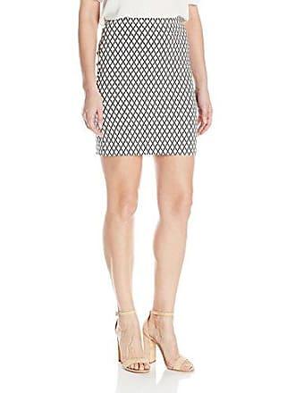 Karen Kane Womens Diamond Print Skirt, Off/Off/White Black, M