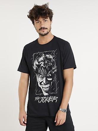 DC Comics Camiseta Masculina Coringa Manga Curta Gola Careca Preta