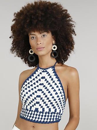 Dress To Top Cropped Halter Neck Feminino Dress To em Crochê Azul