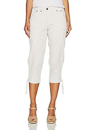 Ruby Rd. Womens Petite Fly Front Stretch Cotton Poplin Capri with Ruching Detail, Linen White, 8P