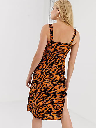 d21df2a17b Missguided Tall midi dress with square neck in tiger print - Multi