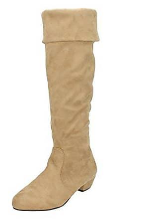 fb7c8dc6ad76ac Spot On Spot On Damen Stiefel mit Schaftabschluss zum Krempeln (40 EU) ( Beige