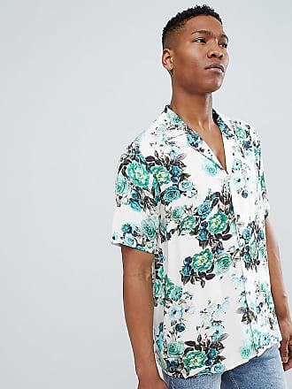 Reclaimed Vintage Inspired - Blommig skjorta med kort ärm - Blå e808a46ead9fd