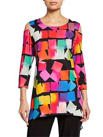 d54e67ea Caroline Rose Kaleidoscope-Print Cold-Shoulder 3/4-Sleeve Tunic
