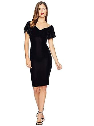 Unique Vintage Velvet Draped Off Shoulder Sophia Wiggle Dress (Black) Womens Dress