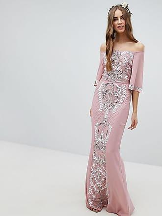 7c5a0ecb15c Maya Robe de demoiselle dhonneur longue ornementée avec encolure Bardot et  manches évasées - Rose