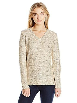 Jones New York Womens Sequin Yarn V-Neck Pullover, Champagne X-Small