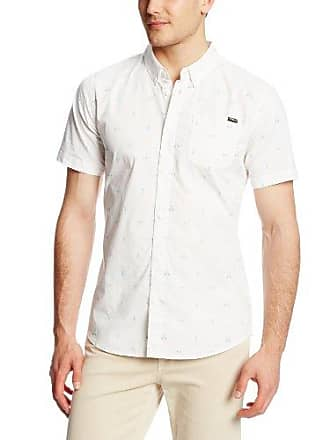 O'Neill Mens Casual Modern Fit Short Sleeve Woven Button Down Shirt, White/Fronze Small