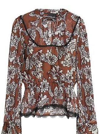 1f1f4d9bc41 Nicholas Nicholas Woman Ruffled Floral-print Silk-crepe Blouse Light Brown  Size 4