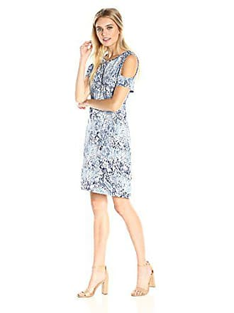 Calvin Klein Womens Printed Cold Shoulder Dress, Indigo Combo, L