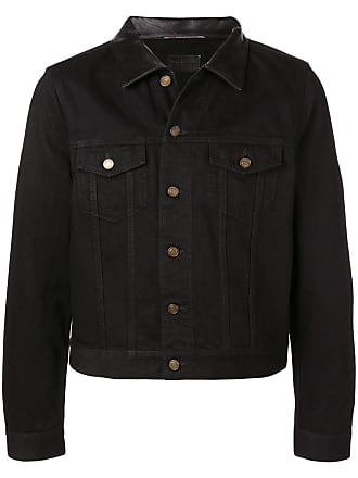 Saint Laurent leather collar denim jacket - Black