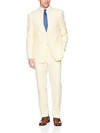 U.S.Polo Association Mens Cotton Suit, Seersucker Yellow/White, 42 Short