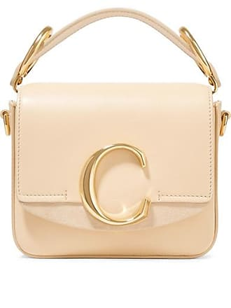 Chloé Chloé C Mini Suede-trimmed Leather Shoulder Bag - Cream