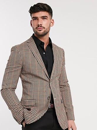 Topman super skinny fit checked blazer in brown