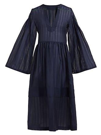 Zeus + Dione Astypalaia Cotton And Silk Blend Midi Dress - Womens - Navy