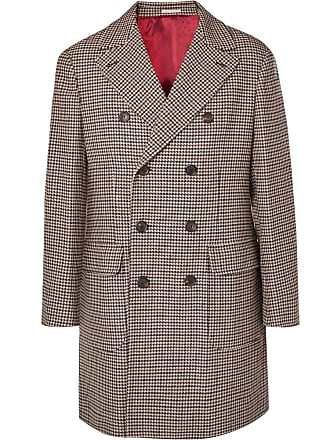 Brunello Cucinelli Double-breasted Houndstooth Wool And Cashmere-blend Coat - Brown