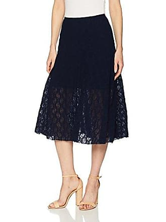 Only Hearts Womens Stretch Lace Midi Skirt Lined, Navy, Medium