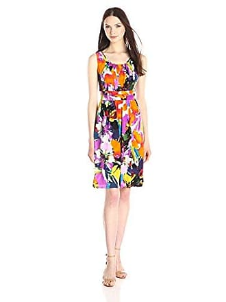 Kasper Womens Shirred Floral-Print Fit-and-Flare Dress, Bella Orchid Combo, 6
