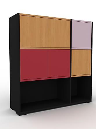 MYCS Buffet - Noir, pièce modulable, enfilade, avec porte Chêne - 116 x 120 x 35 cm