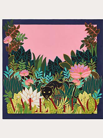 Valentino Garavani Valentino Garavani Silk Twill Foulard With Panther In The Jungle Print 90x90 Cm / 35.4x35.4 In. Women Pink Silk 100% OneSize