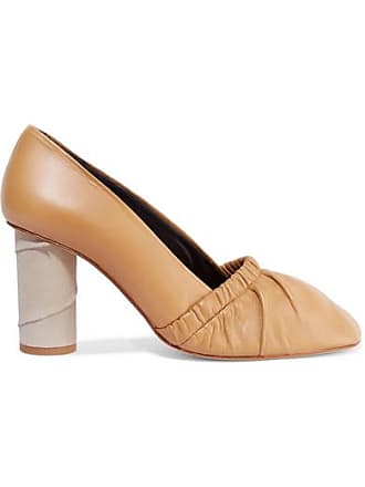 Loewe Ruched Leather And Suede Pumps - Beige