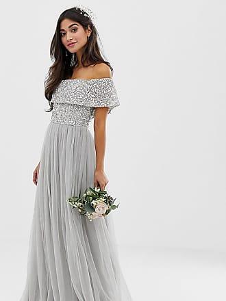 Maya Bridesmaid bardot maxi tulle dress with tonal delicate sequins in soft gray - Gray