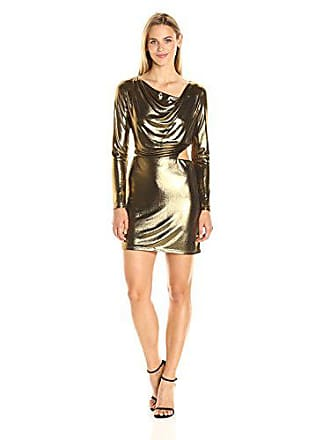4431a416053 Halston Heritage Womens Long Sleeve Cowl Neck Metallic Jersey Dress with  Cut Out, Bronze,