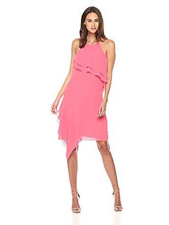 Nanette Lepore Womens Spaghetti Strap Dress W/wrap Around Flounce, Flamingo Dream, 10