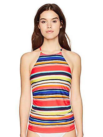 aa9f34fb83fba Anne Cole Womens High Neck Tankini Swim Top with Strappy Back Detail, Multi  Stripe,